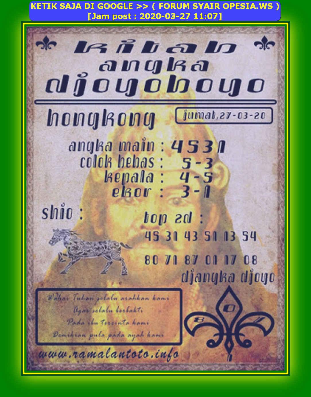 Kode syair Hongkong Jumat 27 Maret 2020 133