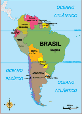 mapa america do sul paises e capitais Paises E Capitais Da America Do Sul mapa america do sul paises e capitais