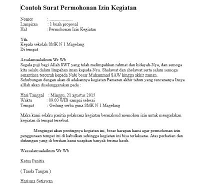 Contoh Format Surat Permohonan Pelaksanaan Kegiatan Lengkap