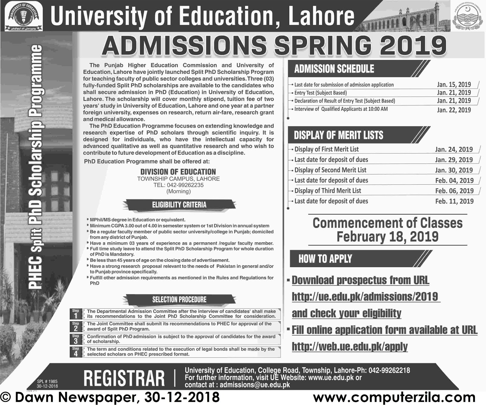Admissions Open For Spring 2019 At UE Lahore Campus