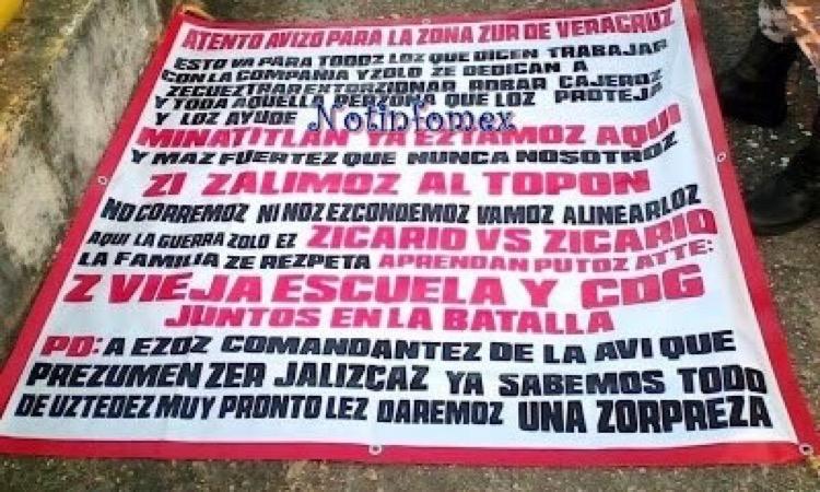 ZETAS VIEJA ESCUELA Y CDG CUELGAN NARCOMANTAS PARA EL CJNG EN MINATITLÁN