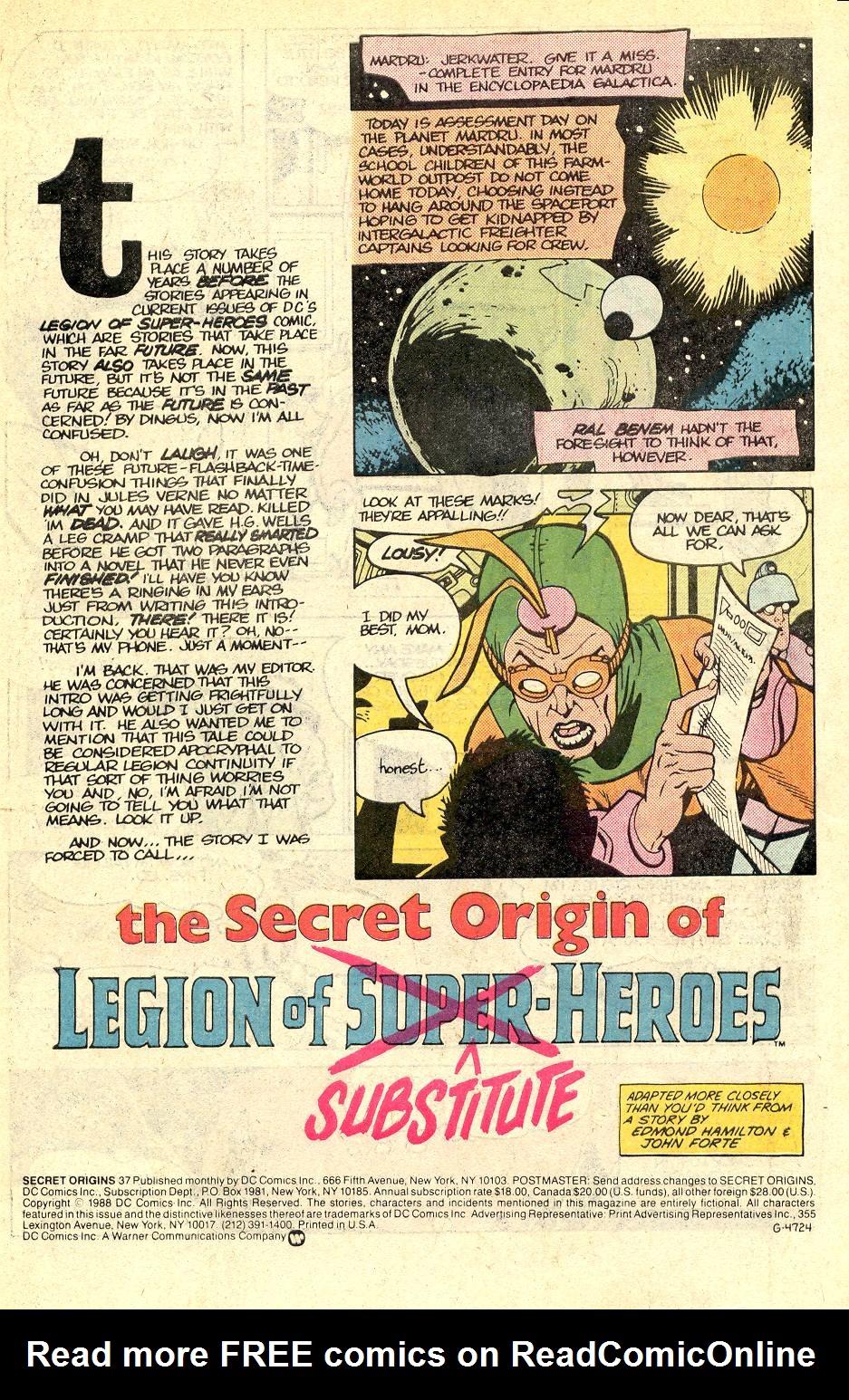 Read online Secret Origins (1986) comic -  Issue #37 - 2