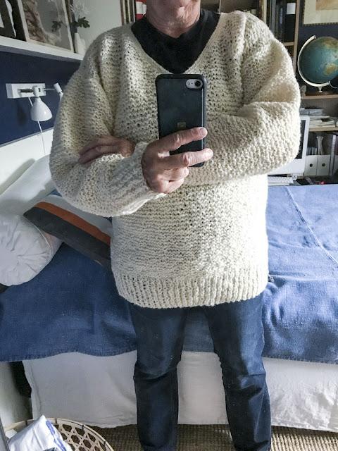 tröja, stickning, grekiskt ullgarn