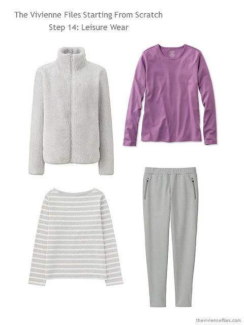 grey and orchid lounge wear to add to a capsule wardrobe