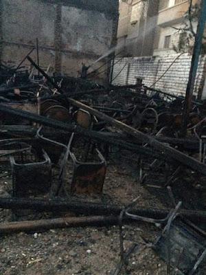 🔴عـاجـل  اندلاع حريق في مخيم تم إعداده للصلاة بمطرانية مارجرجس بمطاي.. صور