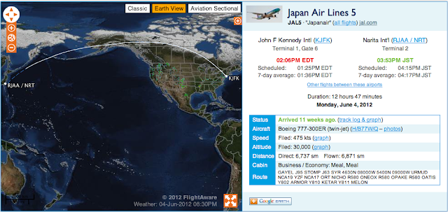 JL005 flight path on June 4 2012