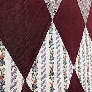 diamond harlequin quilt, windermere fabrics, serpentine stitch quilting