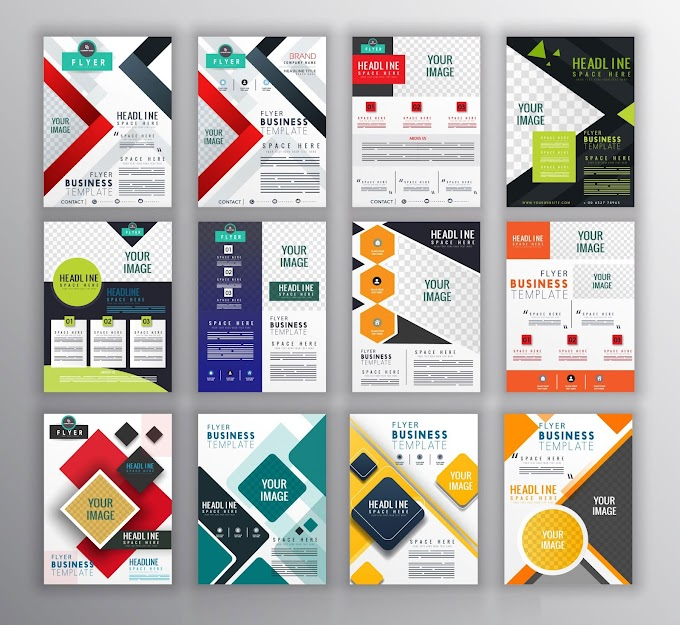 Corporate flyer templates collection colorful modern geometric decor Free vector