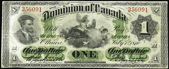 Canada One Dollar banknote 1870 Jacques Cartier