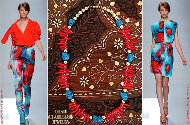 Glam Chameleon Jewelry red coral chips and turquoise necklace