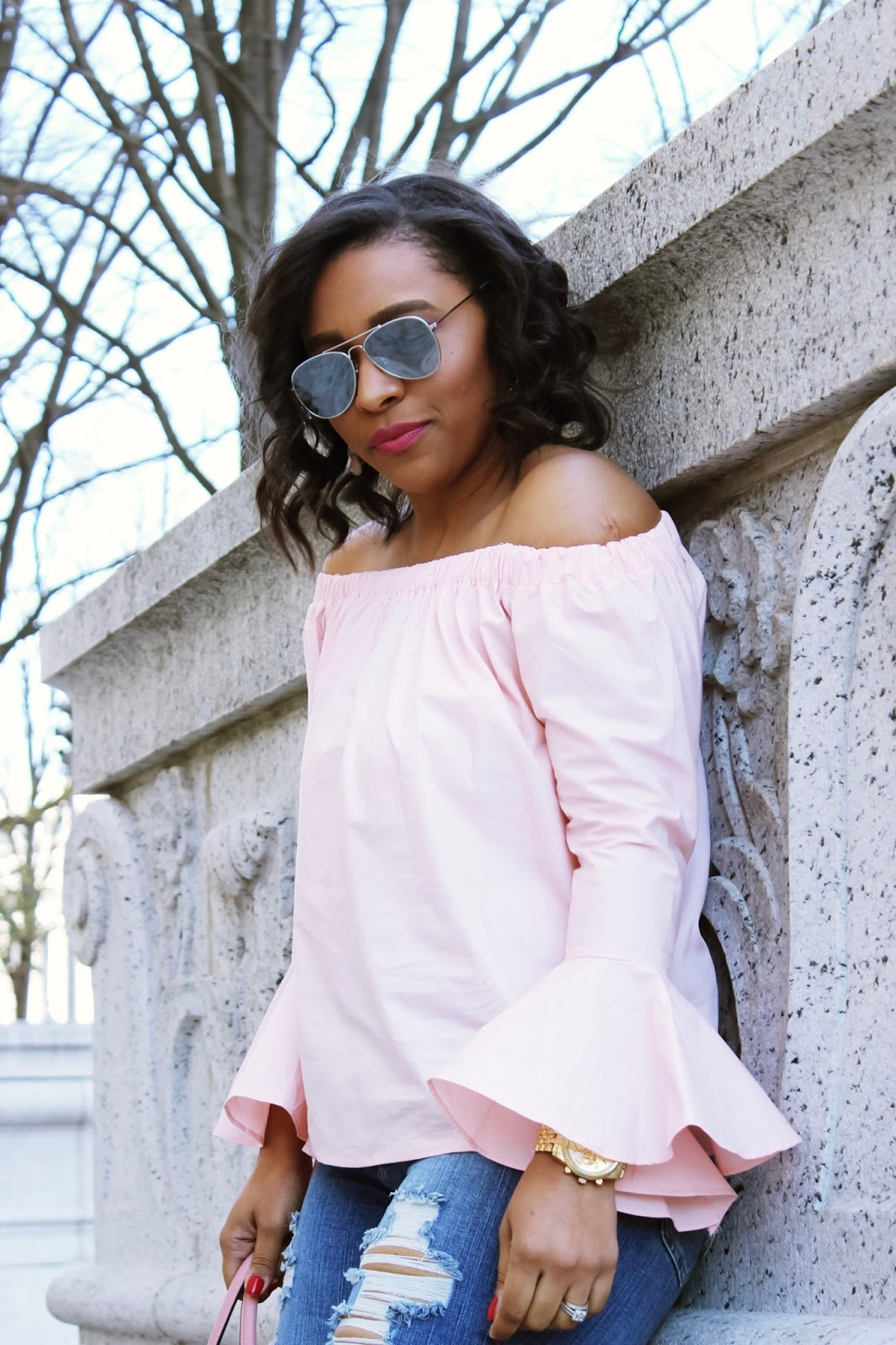 Are Your Sleeves Making A Statement? bell sleeves, off the shoulder top, cold shoulder, pink off the shoulder top, statement sleeves, new trends, fashion trends, statement top, pink top, fashon blogger, pink outfits, ripped denim