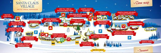 Mapa de Santa Claus Village, Rovaniemi, Finlandia
