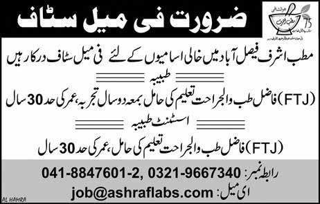 Female Staff required in Faisalabad March 2019