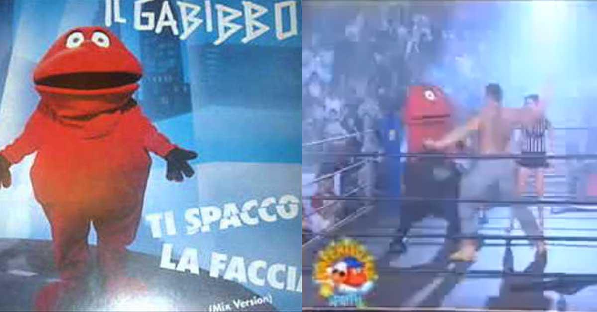 Il Gabibbo degli esordi e sul ring WWE contro Batista