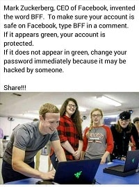 BFF Facebook Typing BFF Comment on Facebook is Fake - BFF Hoax