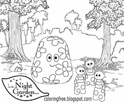 Kids simple preschool clipart Haahoos colouring in the night garden good drawing ideas for beginners