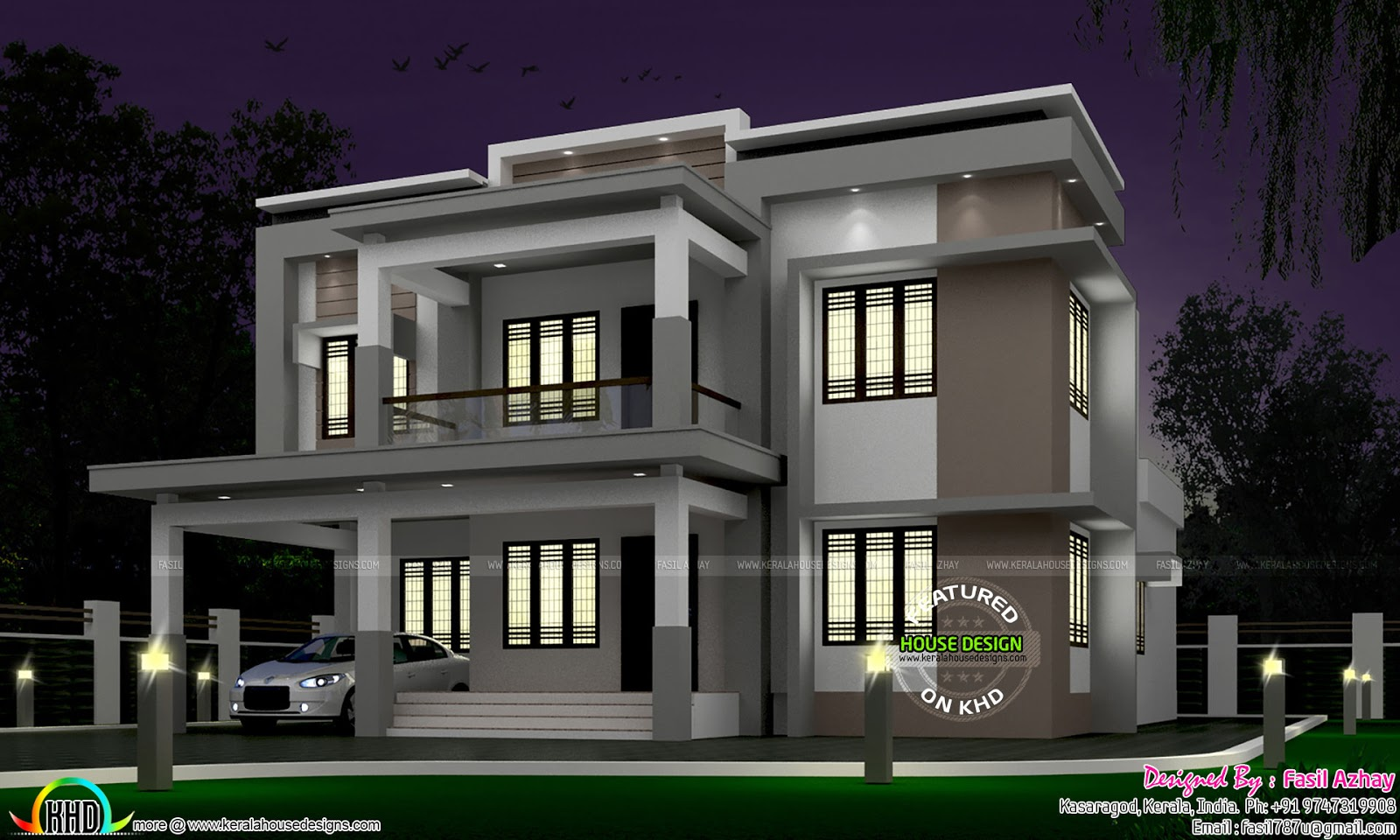 35 lakhs cost estimated modern home kerala home design for Modern house at night