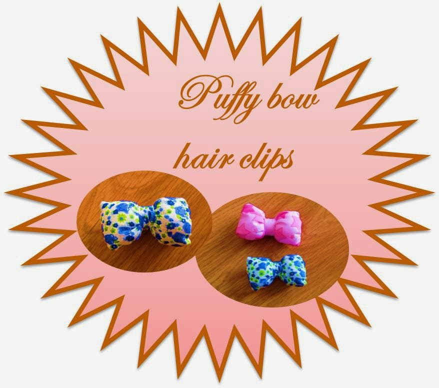bow hair clips, puffy bows