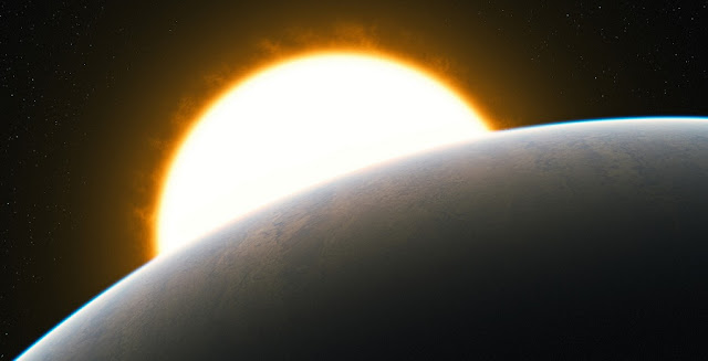 Artist's impression showing a Jupiter-like transiting planet around a solar-like host star. Credit: ESO/L. Calçada