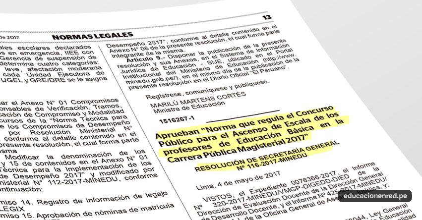 R s g n 116 2017 minedu aprueban norma que regula for Concurso para profesores 2016