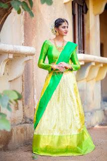 Telugu TV Actress Varshini Sounderajan Pictures in Green Lehenga Choli (2)
