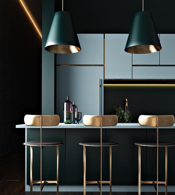 kiểu nhà bếp màu xanh hiện đại