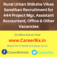 Rural Urban Shiksha Vikas Sansthan Recruitment for 444 Project Mgr, Assistant Accountant, Office & Public Relation Asst, Peon Vacancies