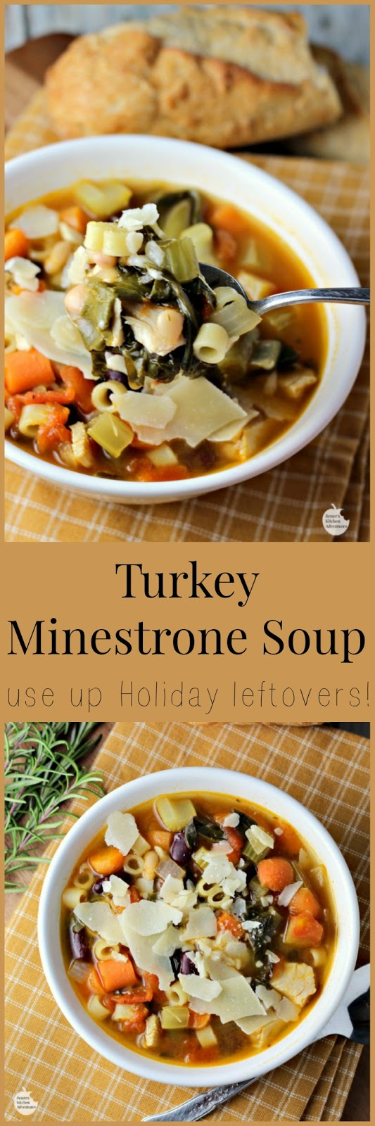 Turkey Minestrone Soup | by Renee's Kitchen Adventures - Healthy and easy recipe for a comforting soup that is made from several of your Holiday meal leftovers!  Also great meatless!