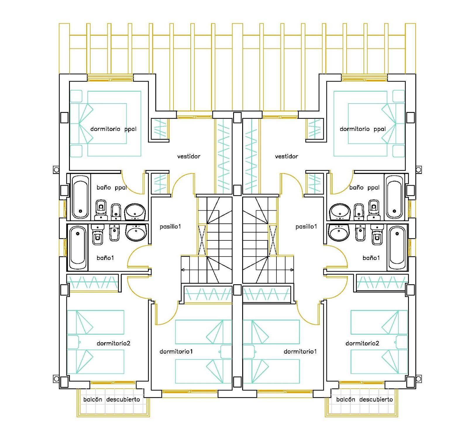 Planos de casas pareadas for Casa moderna 6x6