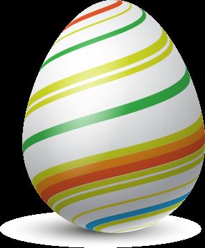 Renkli Çizgili Yumurta Vektör