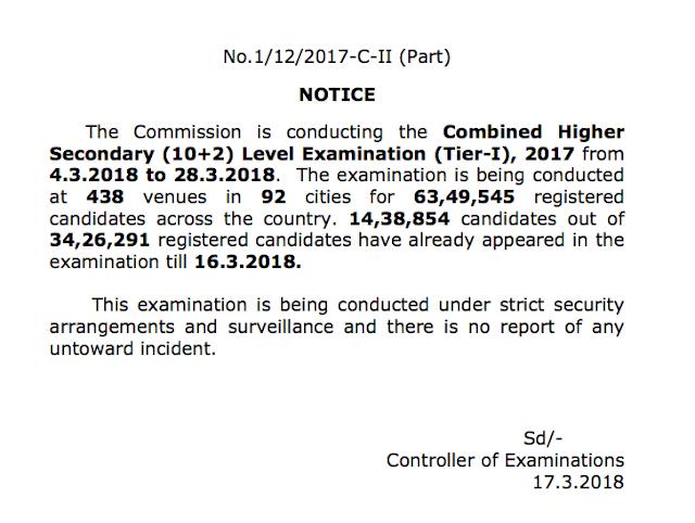 SSC Official Notice Regarding SSC CHSL 2017 (17.03.2018