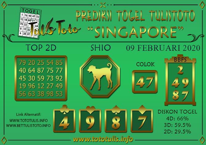 Prediksi Togel SINGAPORE TULISTOTO 09 FEBRUARI 2020