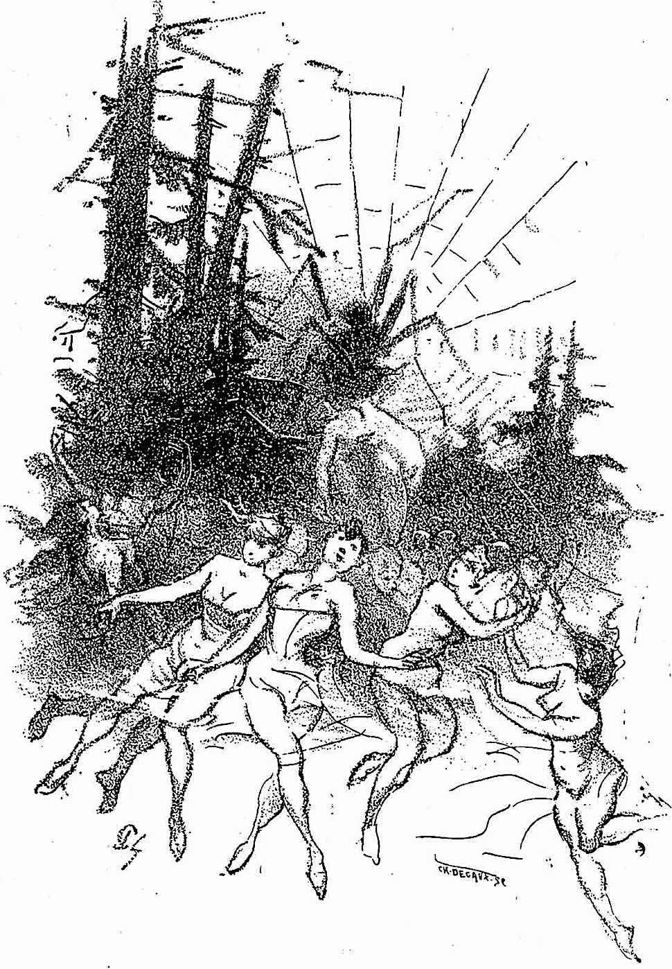 an 1890 illustration of women and a spider web