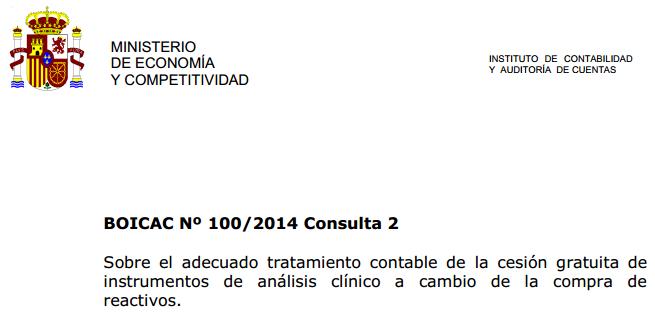 BOICAC 100 consulta 2 cesión instrumentos análisis reactivos
