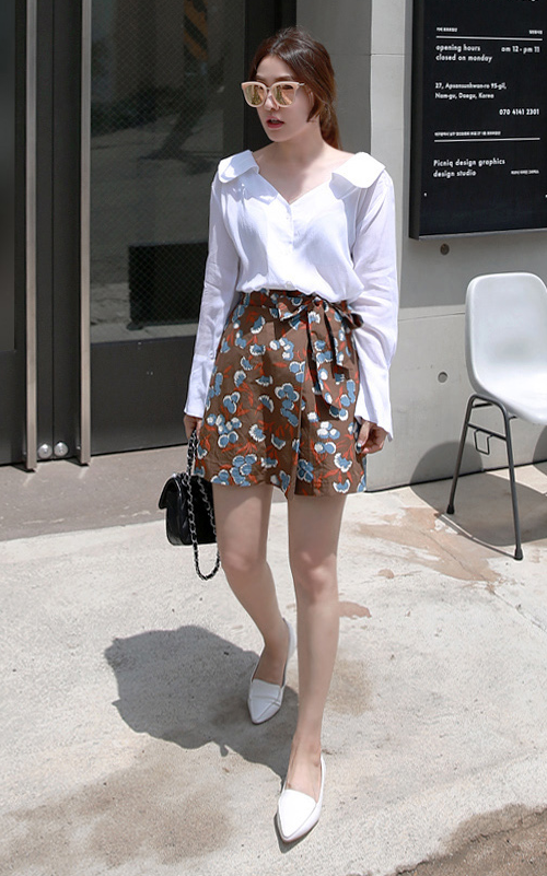 Self-Tie High-Waisted Floral Skirt