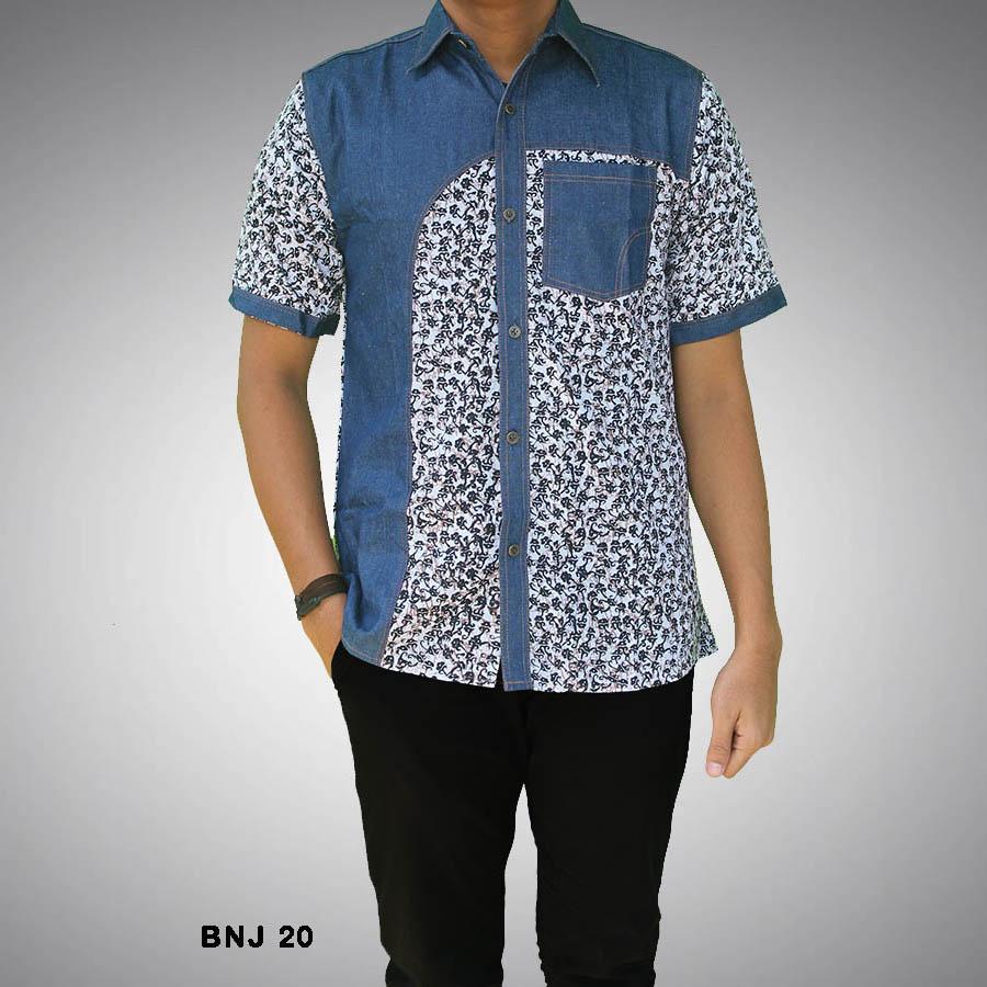 Desain Kemeja batik pria kombinasi kain polos lengan ...