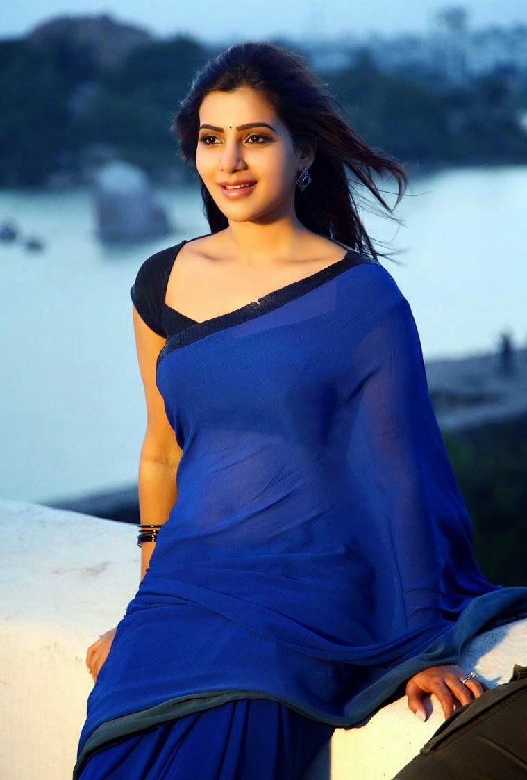 samantha hot navel show stills in blue saree - indian actress saree