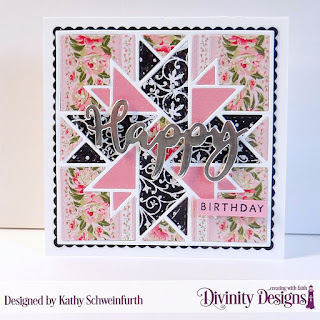 Divinity Designs Stamp/Die Duos: Happy, Custom Dies: Quilted Triangles, Scalloped Squares, Scalloped, Paper Collection: Pretty Pink Peonies, Chalkboard