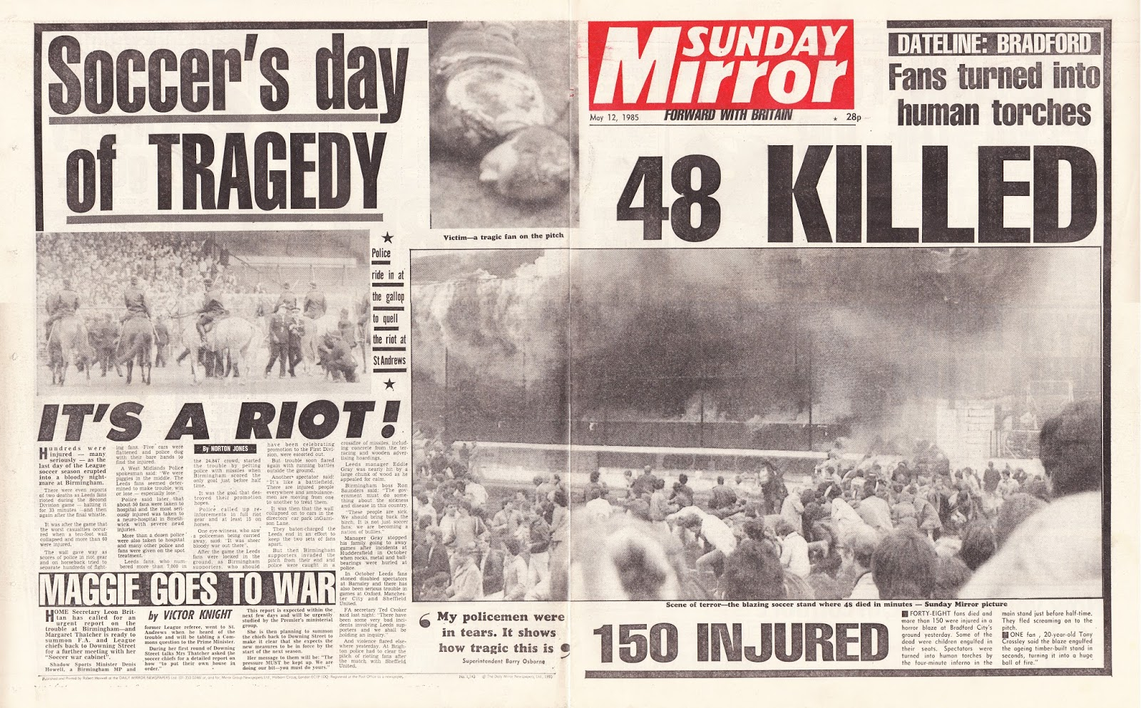 Hold The Front Page: The Bradford City Stadium fire