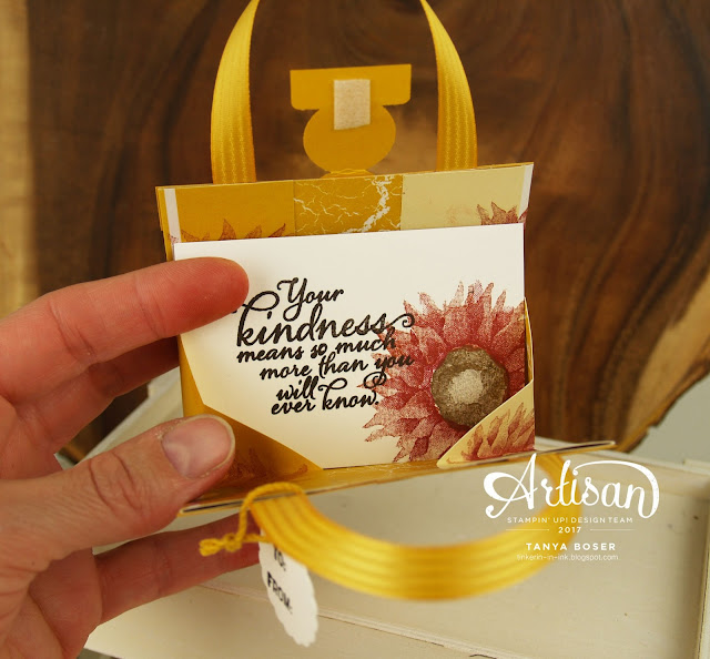 Painted Harvest stamp set from Stampin' Up! Create a lip balm purse, card, and wine bottle tag from one simple design!~Tanya Boser for the Stamp Review Crew