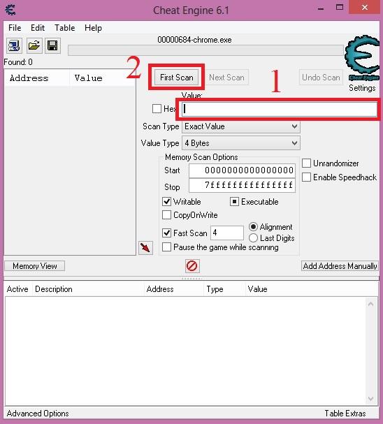 schermata di cheat engine con first scan per cercare i processi