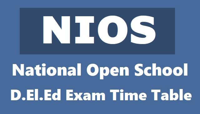 NIOS D.El.Ed Exams Date Sheet