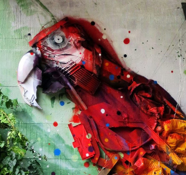 This vibrant Macaw is the last Street Art Installation By Bordalo II Somewhere in Portugal. 2