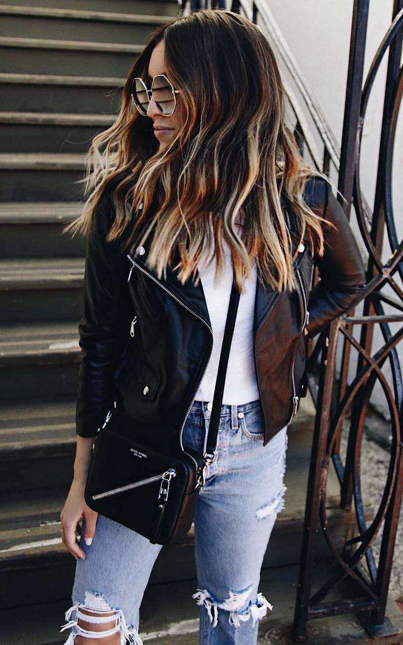 street style perfection / biker jacket + white top + bag + ripped jeans