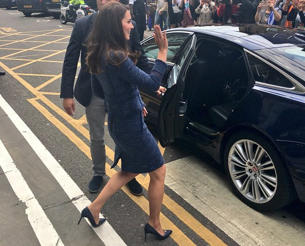 Kate Middleton chose her blue sparkle tweed Rebecca Taylor suit for the day. Catherine, Duchess of Cambridge wore Rebecca Taylor Skirt and Jacket