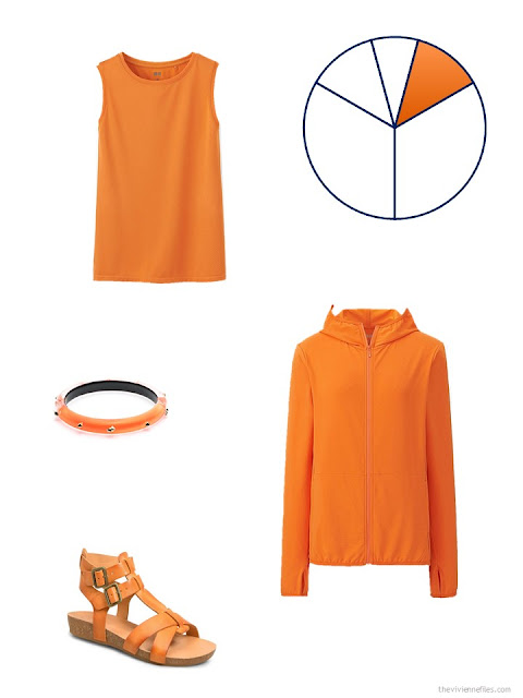 bright orange additions to a beige and navy based travel capsule wardrobe