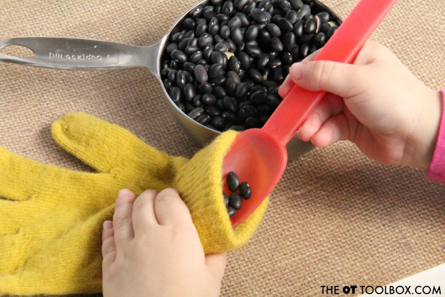Use dry beans to make a weighted fidget toy that helps with attention and focus in school or at home