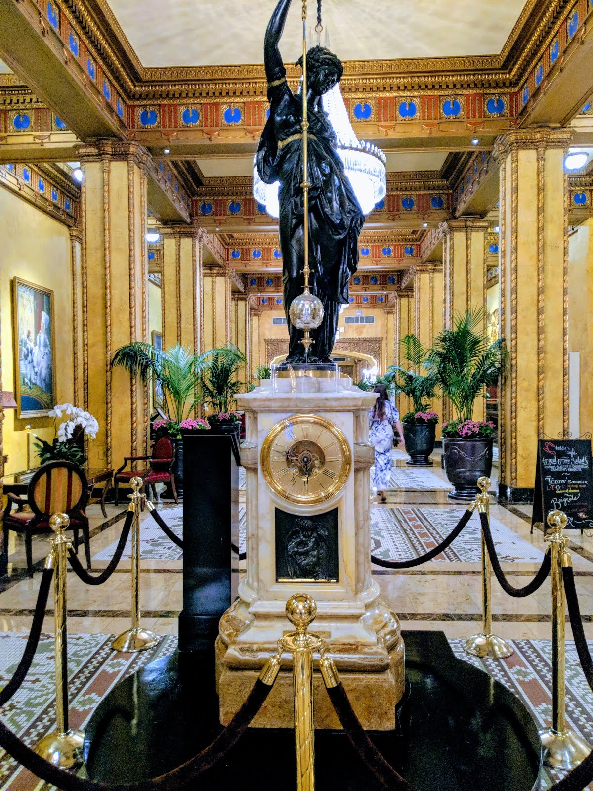 The Roosevelt Hotel Lobby And Clock