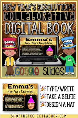 Have your students make their New Year's Resolutions using Google Classroom/Google Drive with this DIGITAL New Year's Resolutions Collaborative Class Book in Google Slides.