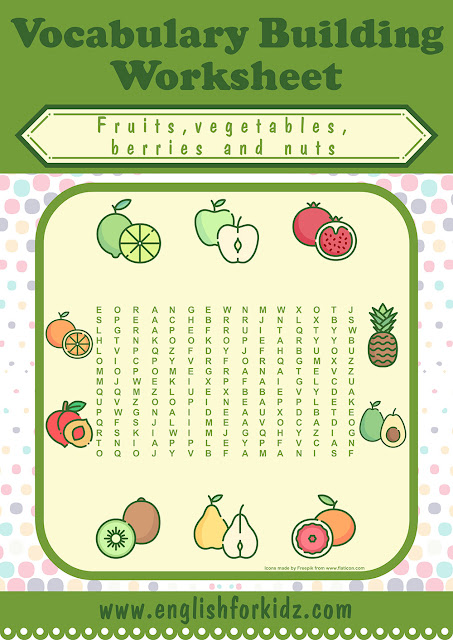 Fruits and vegetables word search puzzles